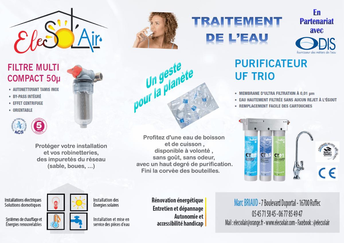 Offre spéciale pour le traitement de l'eau en partenariat avec ODIS et votre plombier à Ruffec, Elec Sol'air